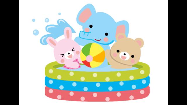 プールで遊ぶ動物のイラスト