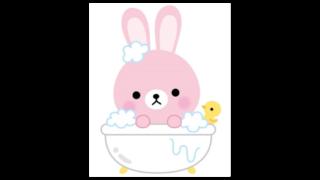 お風呂に入るうさぎのイラスト