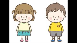 保育園の園児ふたりのイラスト
