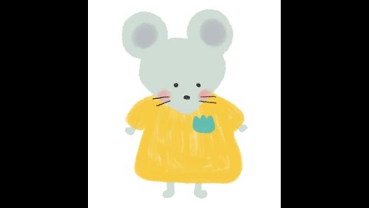 保育園服を着たネズミのイラスト