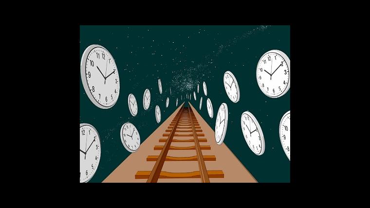 時計と線路のイラスト