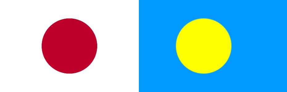 日本とパラオの国旗