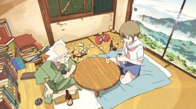 赤玉先生の部屋にいる先生と矢三郎