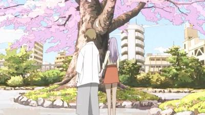 手をつなぐ桜の木の下の矢三郎と弁天