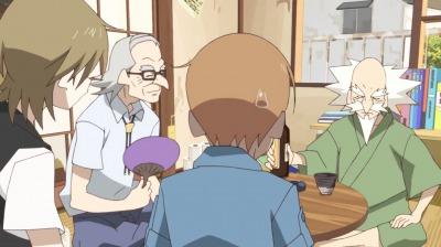 赤玉先生の部屋にいる矢三郎と矢四郎、天狗の金光坊
