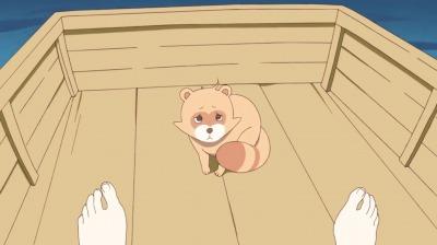 弁天のところへ向かうボートの上でたぬきに戻ってしまう矢四郎