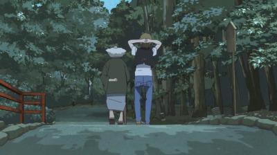 糺の森を歩く赤玉先生と矢三郎