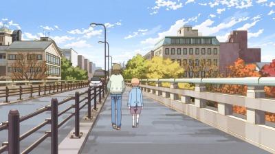 出町橋を歩く矢四郎と矢三郎