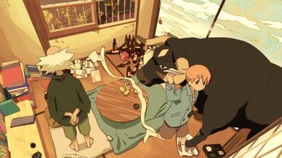 牛に化けた矢三郎とわずかな天狗風を吹かせた赤玉先生と紙飛行機であそぶ矢四郎