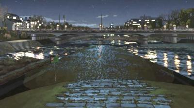 矢三郎がひとり赤玉ワインを飲む冬の夜の鴨川デルタ