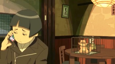 電話で海星から罵声を浴びる金閣とそれを聞いている矢三郎