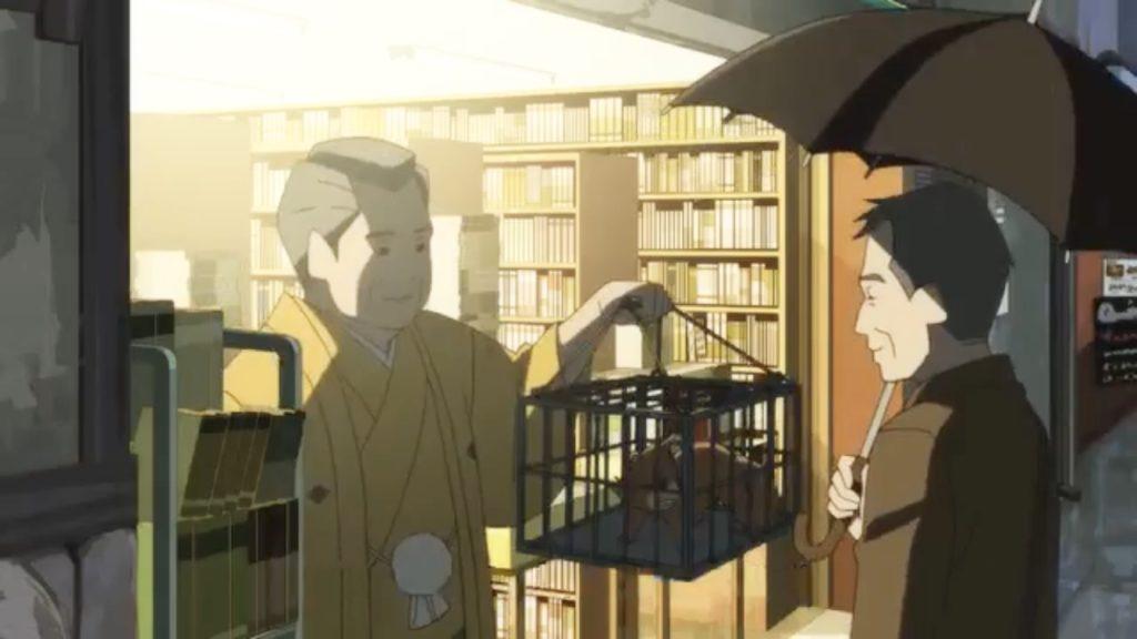 檻に入った狸姿の矢一郎を早雲から受け取る淀川教授