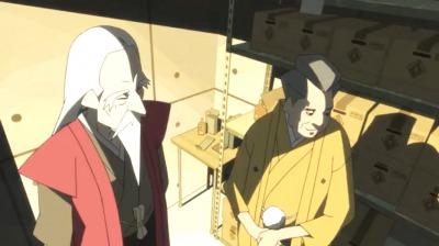 悪い顔をする寿老人と夷川早雲