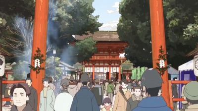 下鴨一家が訪れたのは初詣で賑わう八坂神社
