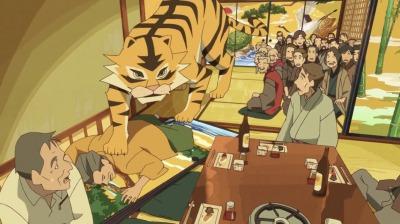 襖の虎の絵が倒れて虎(ニセモノ)が登場