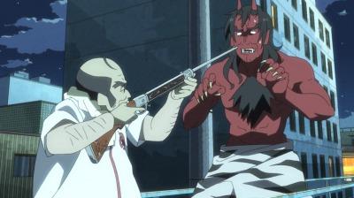 鬼に化けた矢三郎に銃を向ける天満屋