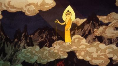 菖蒲池画伯が書き足した、地獄絵の中でクモの糸を垂らす観音様