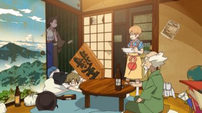 赤玉先生の部屋の押し入れから出てくる矢三郎と矢一郎と玉瀾