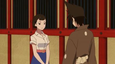 玉蘭に化けた矢三郎から恋のレッスンを受ける矢一郎