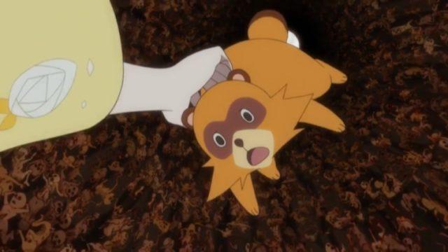 弁天に掴まれ地獄の底を抜ける狸姿の矢三郎