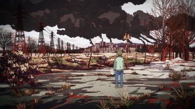 矢三郎が早雲に突き落とされた地獄絵の景色