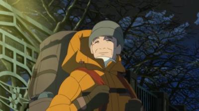 たくさん着こんで演習林へと帰る淀川教授