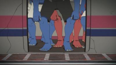 京王線カラーの蒸気機関車から降りてくる鬼たち