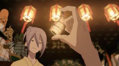 地獄の相撲で弁天が集めた鬼の角をもつ寿老人の手