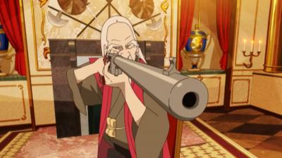 二代目のドイツ製空気銃で淀川教授の頭の上のだるまを狙う寿老人