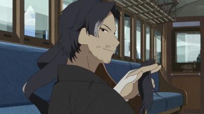 矢二郎の偽叡山電車の中で髪を切る呉一郎