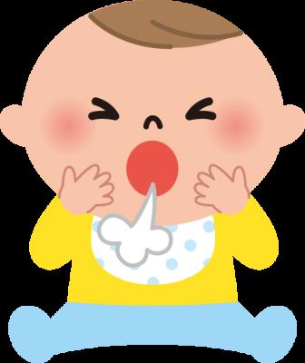 咳をする赤ちゃんのイラスト