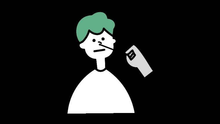 PCR検査を受ける男性のイラスト